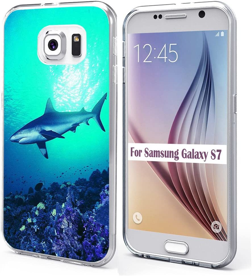 S7 Case & MUQR Bumper Rubber Gel Silicone Slim Drop Proof Protection Cover Compatible with Samsung Galaxy S7 Shark Animal