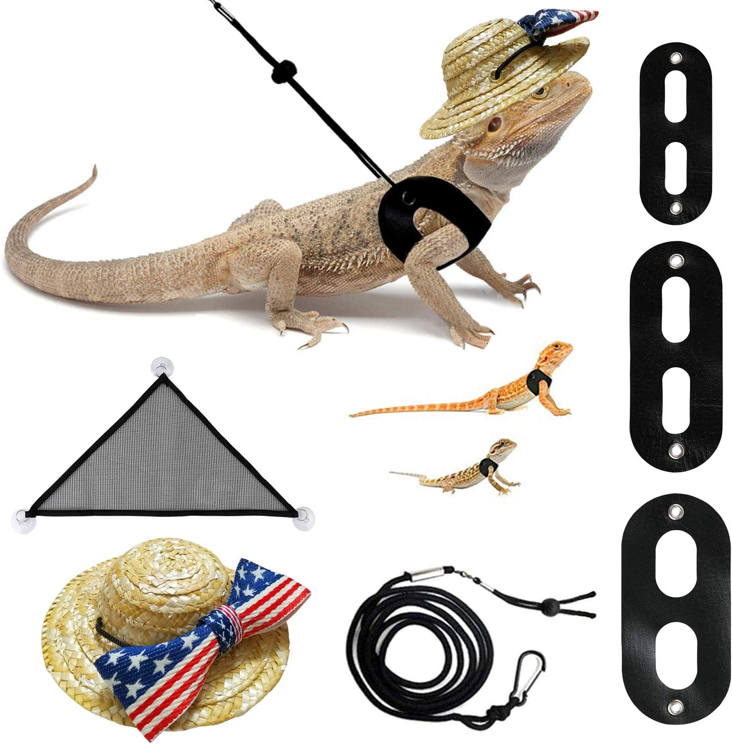 3 Pack Harness With Wings Bearded Dragon Hammock Lounger 3 Pack Lizard Reptile Harness With Wings Bearded Dragon Leash And Harness Hammock Hat Patriotic Clothes Set Rattan Hat With American Flag