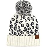 Funky Junque Womens Knit Leopard Print Faux Fur Pom and Cuff Beanies and Scarves