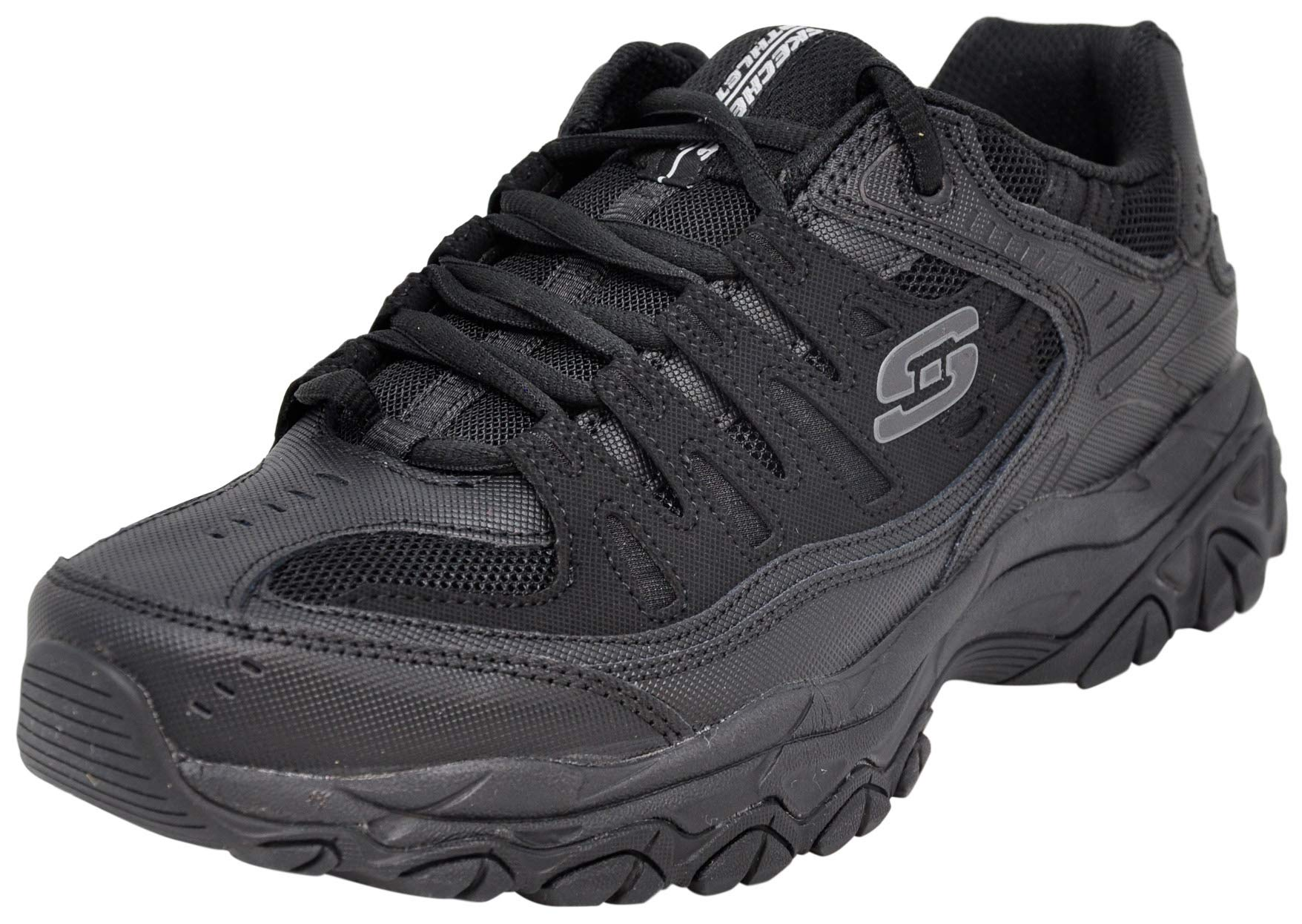 Skechers Men Afterburn Lace-Up Sneaker, Black/Black, 10.5 M US