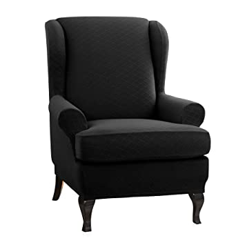 Surprising Chun Yi 2 Piece Rhombus Jacquard Wing Chair Cover Universal Wing Back Wingback Armchair Covers Chair With Arms Slipcovers Furniture Protector Black Uwap Interior Chair Design Uwaporg