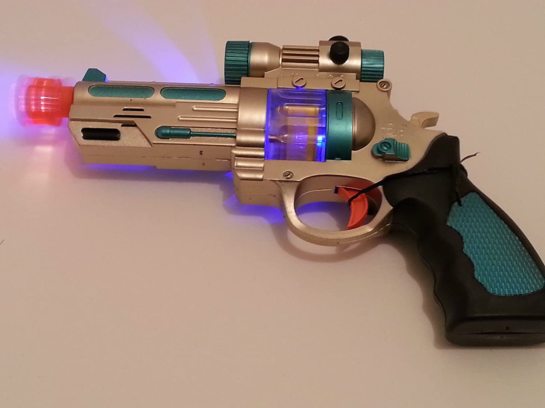 AK968 Kids Flashing LED Light up & Sound effect Space Pistol Gun Boy Gun Toy Click & Trade