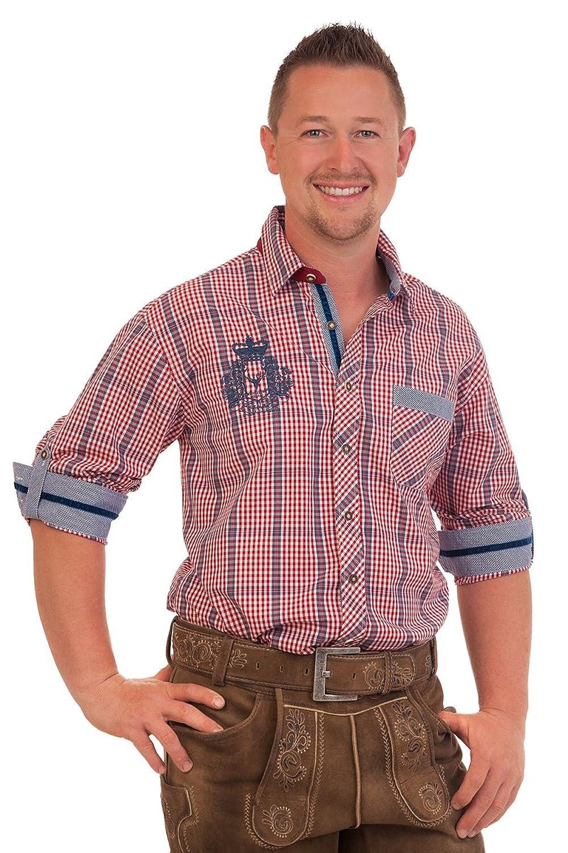 H1560 - Trachtenhemd mit Krempelarm - HARRY - rot