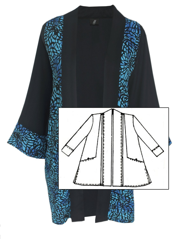 Plus Size Kimono Jacket with Pockets, Handmade Plus Size Women's Clothing 1x 2x, Over 50 and Fabulous Fashion