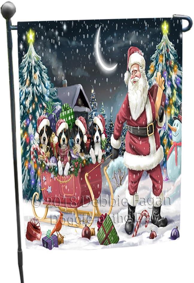 Santa Sled Dogs Christmas Happy Holidays Greater Swiss Mountain Dogs Garden Flag GFLG51717