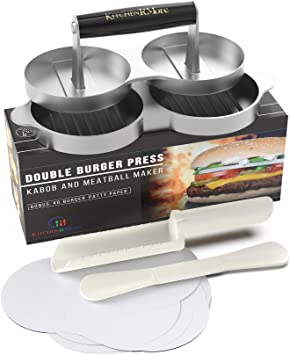 Amazon.com: Kitchen RMore - Prensa doble para hamburguesas + ...