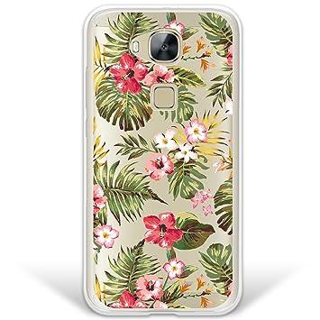WoowCase Funda Huawei GX8 / G8, [Hybrid] Flores Tropicales 1 Case Carcasa [Huawei GX8 / G8] Rígida Fabricada en Policarbonato y Bordes de TPU Silicona ...