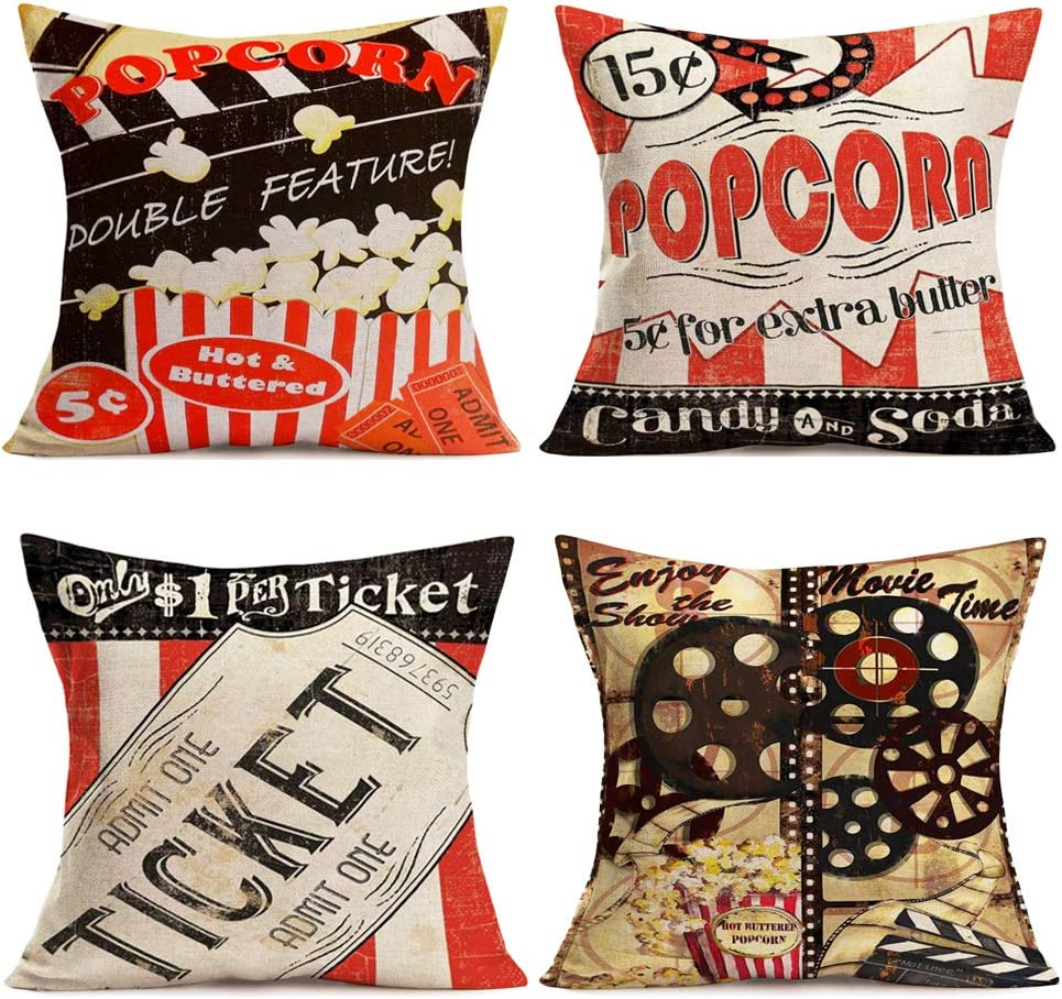 "Tlovudori Home Decor Throw Pillow Covers Popcorn Movie Theme Cotton Linen Vintage Clapper Board Cinema Ticket Film Projector Cushion Case Cover for Sofa Bed Relaxation Gift 18""x18"" (Clapper Board)"