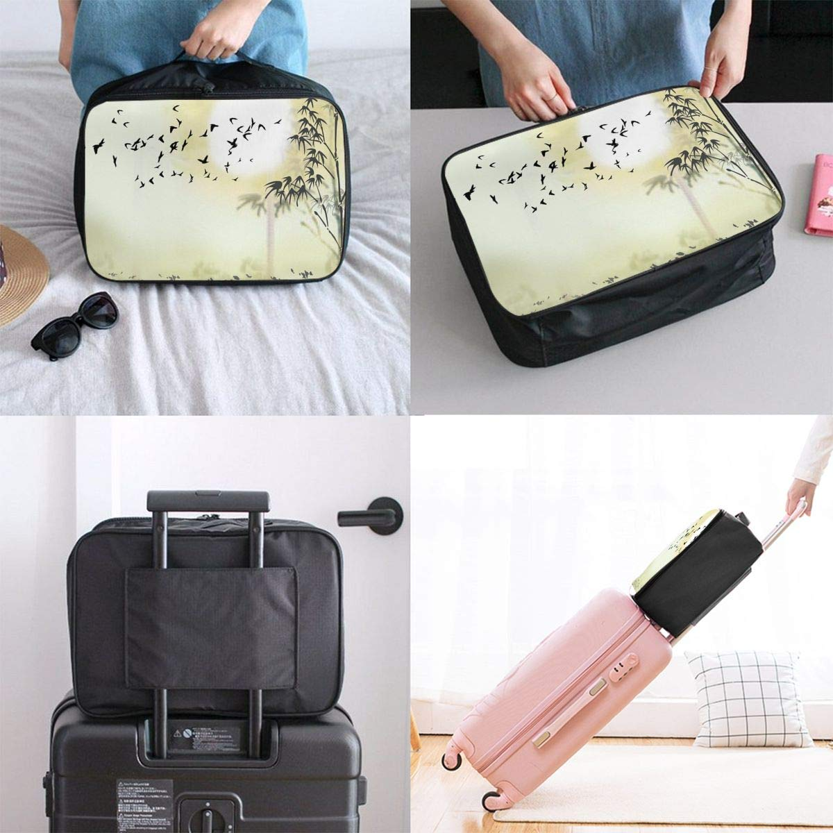 Travel Luggage Duffle Bag Lightweight Portable Handbag Bamboo Birds Print Large Capacity Waterproof Foldable Storage Tote