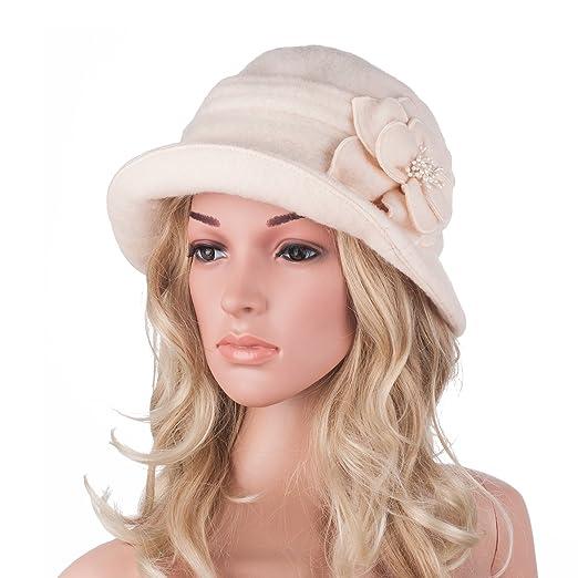 Sombrero elegante de invierno para mujer con adorno de flor, para eventos, cocteles.