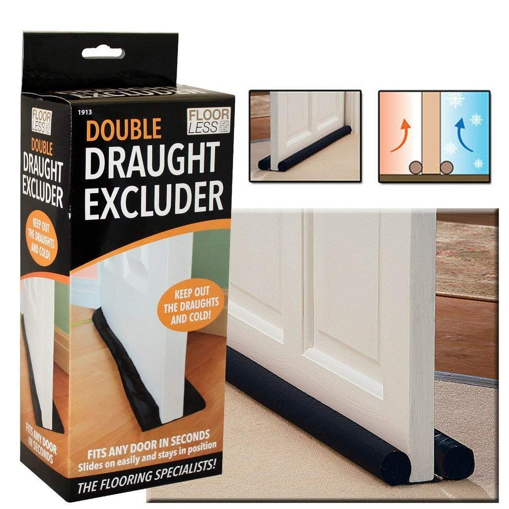 DOUBLE SIDED DRAFT DOOR DRAUGHT EXCLUDER ENERGY SAVING INSULATION TWIN GUARD by Guaranteed4Less