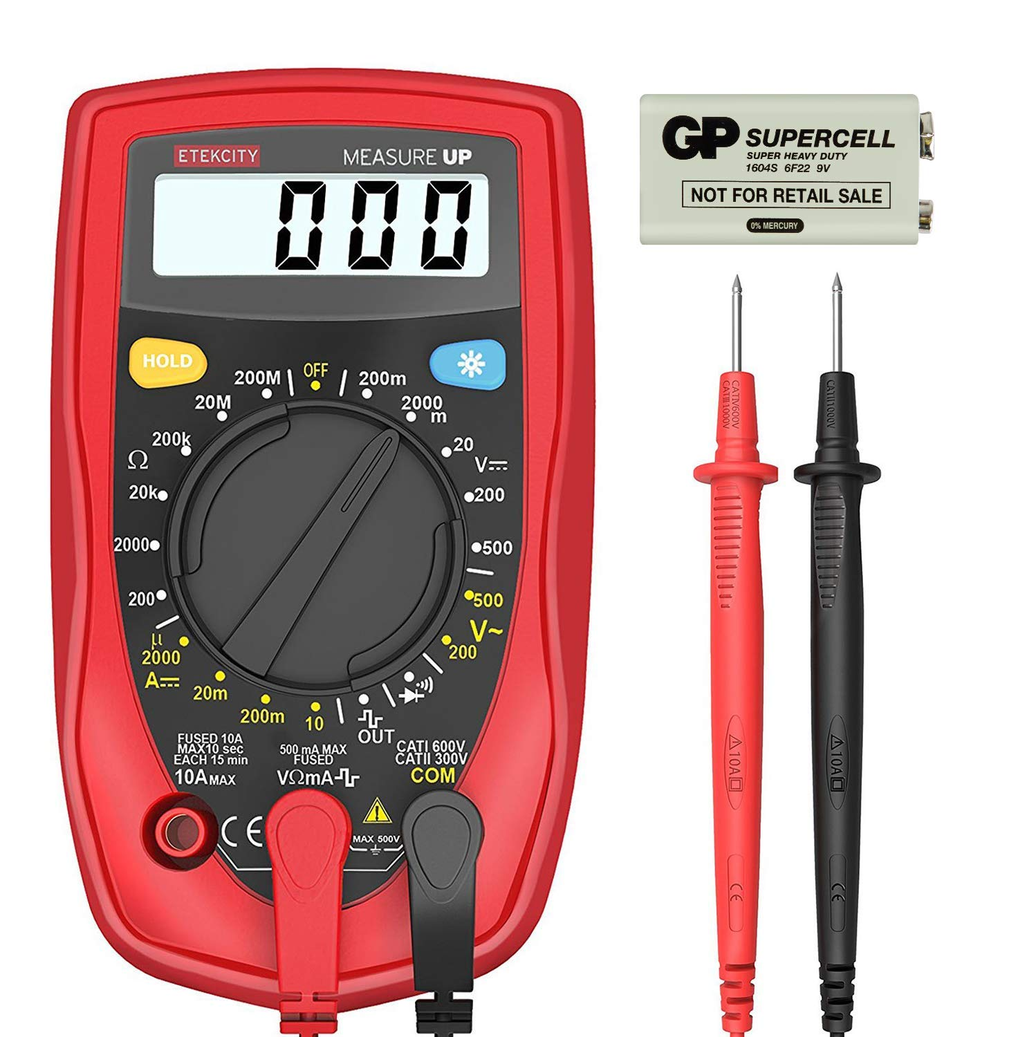 Etekcity Digital Multimeter MSR-R500 Ohm Amp Volt Meter Diode Voltage Tester (Dual Fuse Protection)
