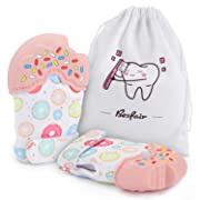 Baby Teething Mittens, Fansteck [2 Pack] Soothing Teether Toy for Teething Pain Relief, Prevent Scratching Gloves, BPA-Free, Soft, Durable, Cute, Unisex for 3-12 Months Baby (Pink)