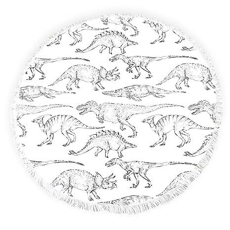 Yun Nist Toallas de playa redondas con borlas de dinosaurios abstracto de animales antiguos, flecos
