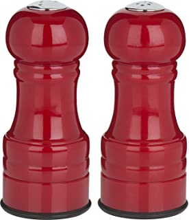 Trudeau Maison 4.5 Inch Salt And Pepper Shakers   Red Colored Finish