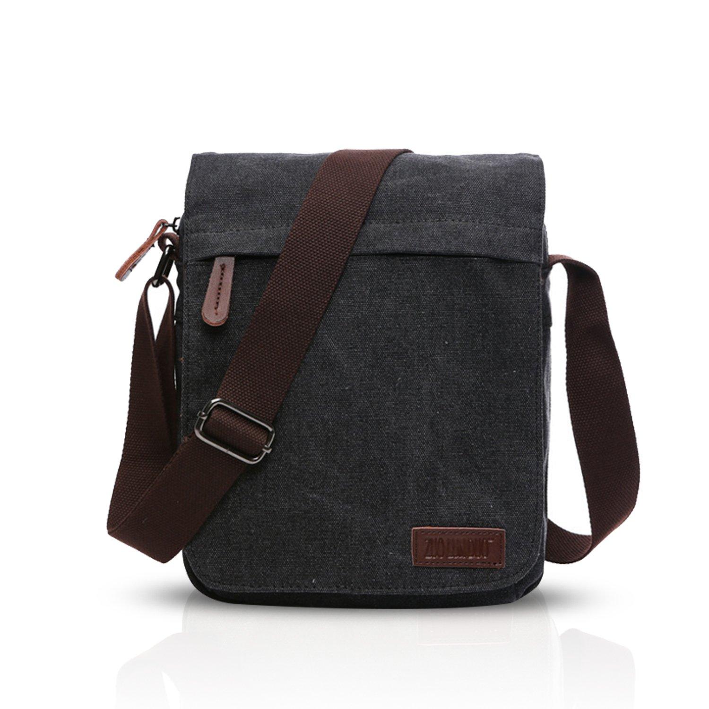 FANDARE New Crossbody Bag Hombres Comercio Estudiantes Viaje Shoulder Bag Multi-bolsillo Gran Capacidad Transpirable Lienzo Azul A BK-WA005