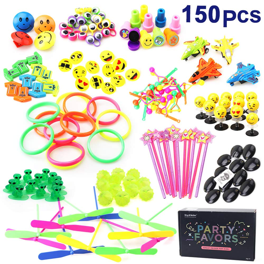 Amy & Benton Party Favor Toys for Kids Birthday 150 PCS Pinata Filler Toys Carnival Prizes for Boys and Girls Treasure Box / Chest Treat for Classroom