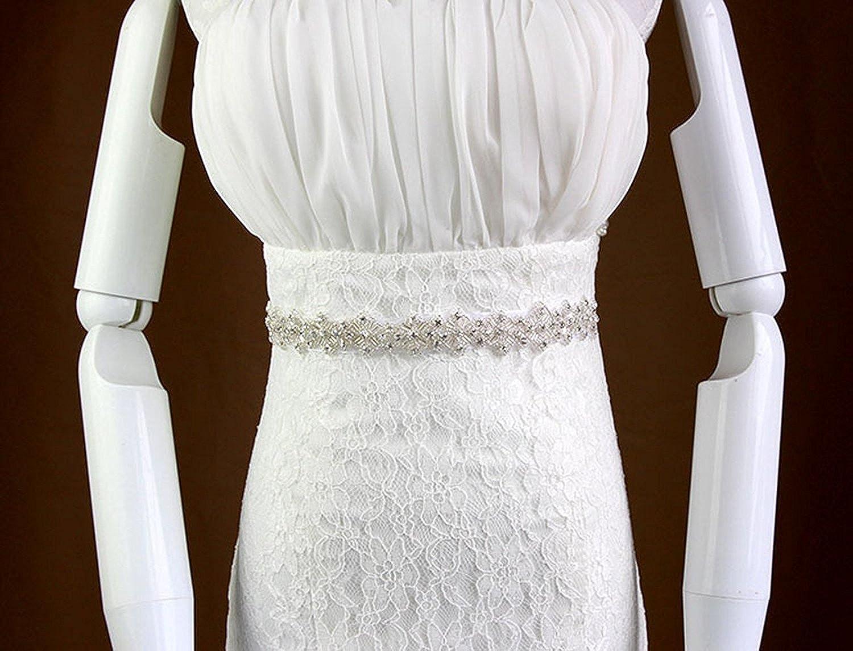 Doragrace Long Rhinestone Wedding Dress Belts Bridal Sash with Ribbon