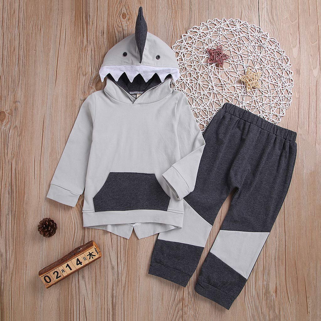 Amazon.com: Toddler Kids Baby Boys Girls Shark Hoody Kangaroo Pocket Sweatshirt Pants Set: Clothing