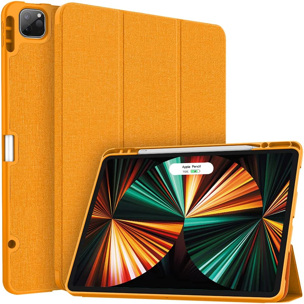 Soke New iPad Pro 12.9 Case 2021 with Pencil Holder - [Full Body Protection + 2nd Gen Apple Pencil Charging + Auto Wake/Sleep], Soft TPU Back Cover for 2021 iPad Pro 12.9 inch(Citrus)