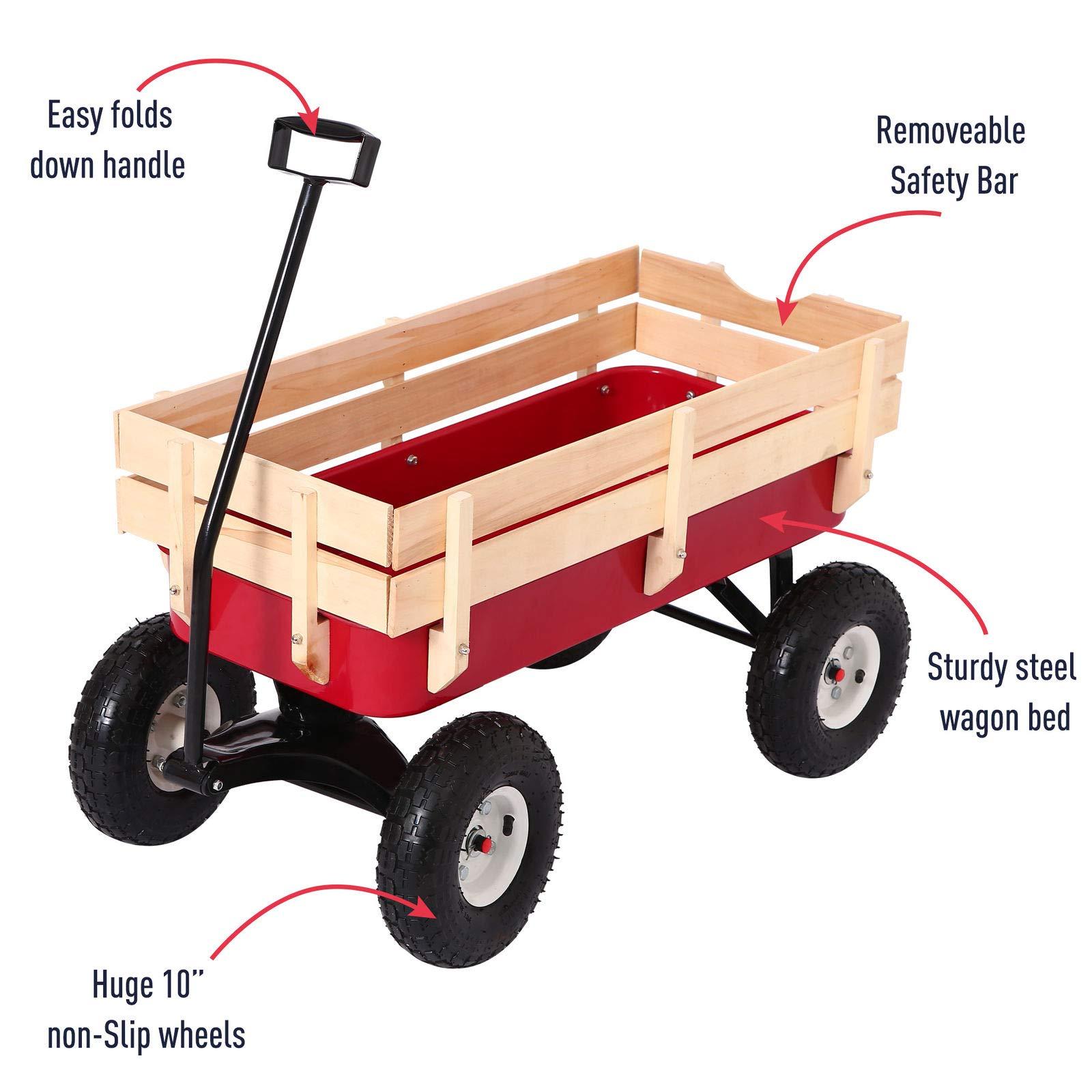 Bonebit Outdoor All Terrain Wagon Yard Beach Cargo Cart w/Wood Sides