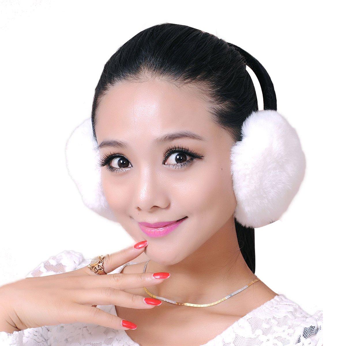 Rex Rabbit Fur Erica Earmuffs Ear Muffs Multicolors (White)
