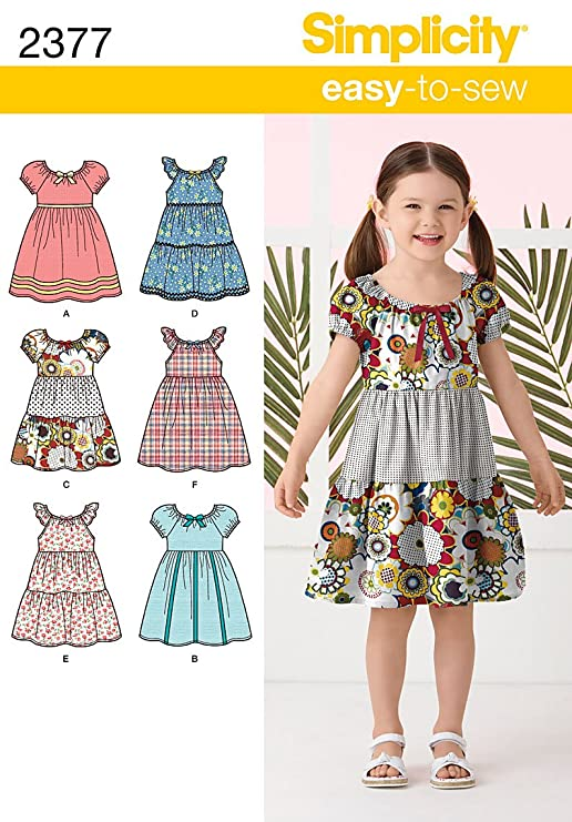 Simplicity A 3-4-5-6-7-8 Sewing Pattern 2377 Childs Dresses: Amazon ...