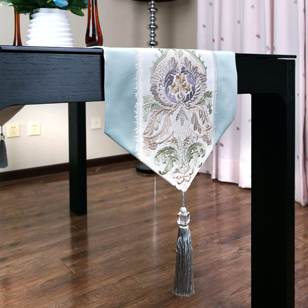 Table runner european style restaurant spinning embroidered dining table tea table runner blue-A 32x220cm(13x87inch)