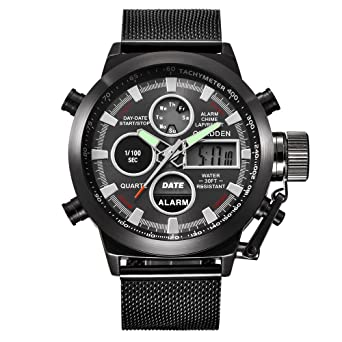 03706198d90 DOLDOA Mens Quartz Sport LED Watches Analog Faux Leather Strap Boys Fashion  Outdoor Wrist Watches with Date Calendar Display (Black)  Amazon.co.uk   Watches