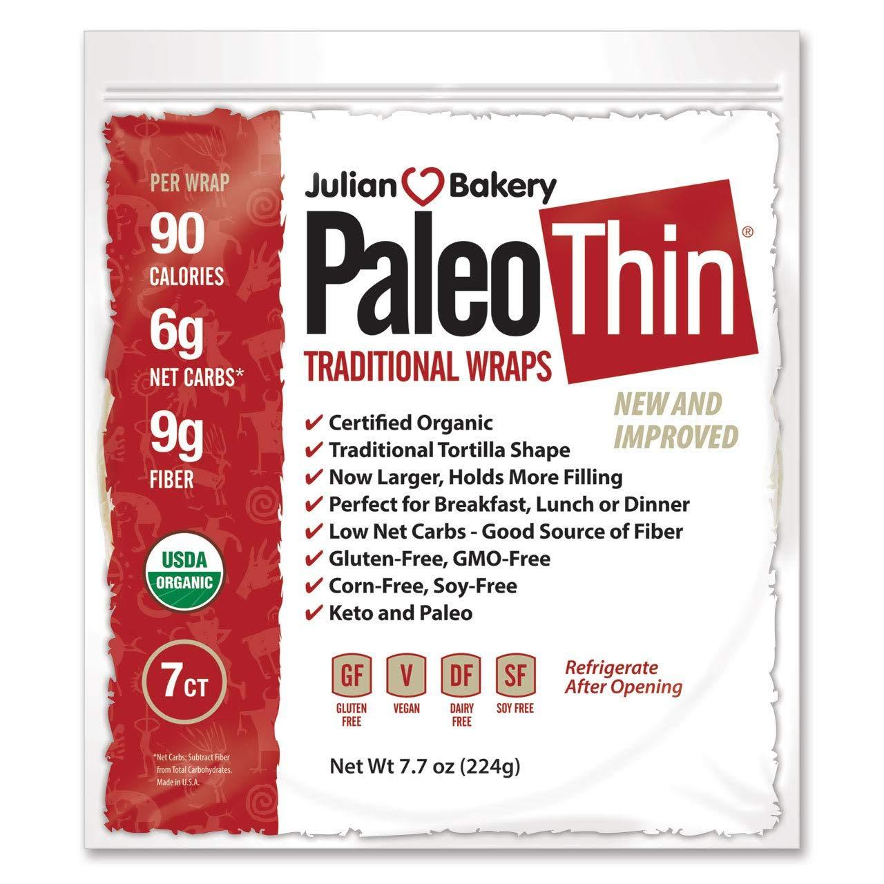 Paleo Thin Wrap USDA Organic (49 Individual Wraps) (Gluten-Free & Low Net Carbs) VeganⓋ by Julian Bakery