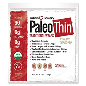 Julian Bakery Paleo Thin Wraps | USDA Organic | Gluten-Free | Grain-Free | Low Carb | 6 Net Carbs | 7 Pack | 49 Individual Wraps