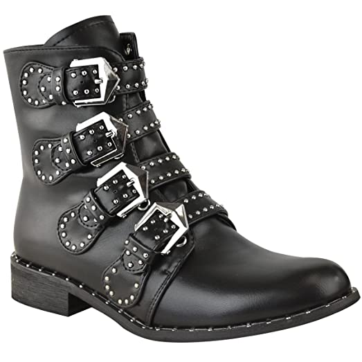 Womens Studded Buckle Ankle Boots Chelsea Biker Punk Strappy Size