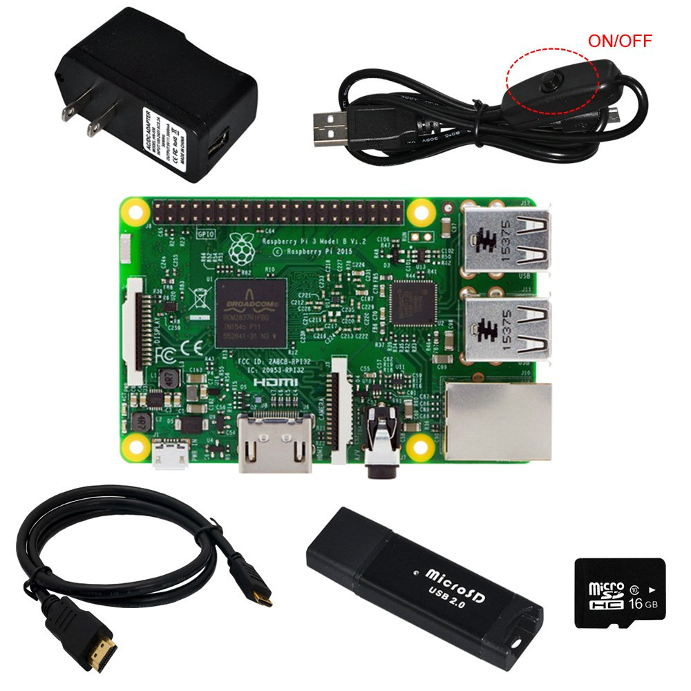 Gowoops Raspberry Pi 3 Model B Motherboard, 5V 2.5A Power Supply Adapter, Micro USB Cable with On Off Switch, 16 GB SD Card, HDMI Cable, SD Card Reader Raspberry Pi Starter Learning Kit (6 Items) by Gowoops
