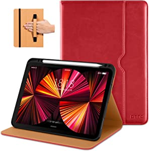 DTTO Case for iPad Pro 11 Inch 2nd/3rd Generation 2021/2020/2018, Premium PU Leather Folio Stand Cover with Hand Strap, Also fit iPad Air 4 - Auto Wake/Sleep and Multiple Viewing Angles, Red