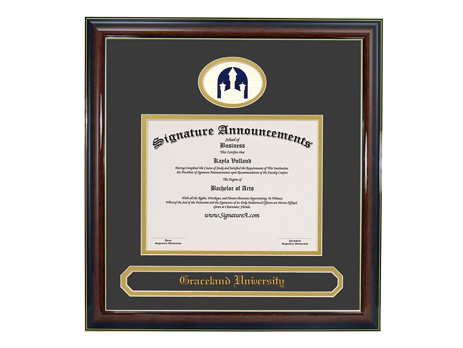 Professional//Doctor Sculpted Foil Seal /& Name Graduation Diploma Frame 16 x 16 Gold Accent Gloss Mahogany Signature Announcements Graceland-University Undergraduate