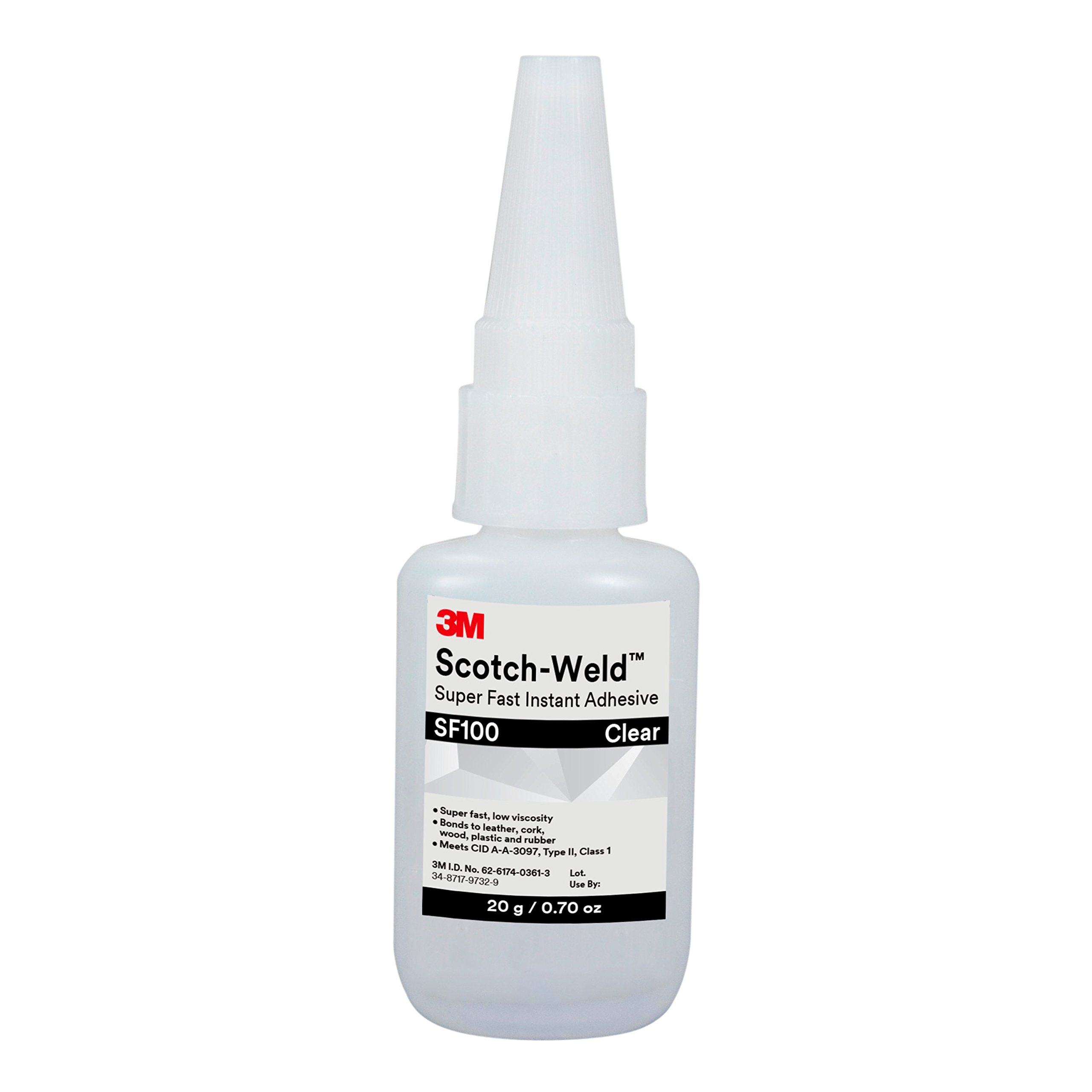 3M Scotch-Weld 62631 Super Fast Instant Adhesive SF100, 20 g Bottle, 0.676 fl. oz.