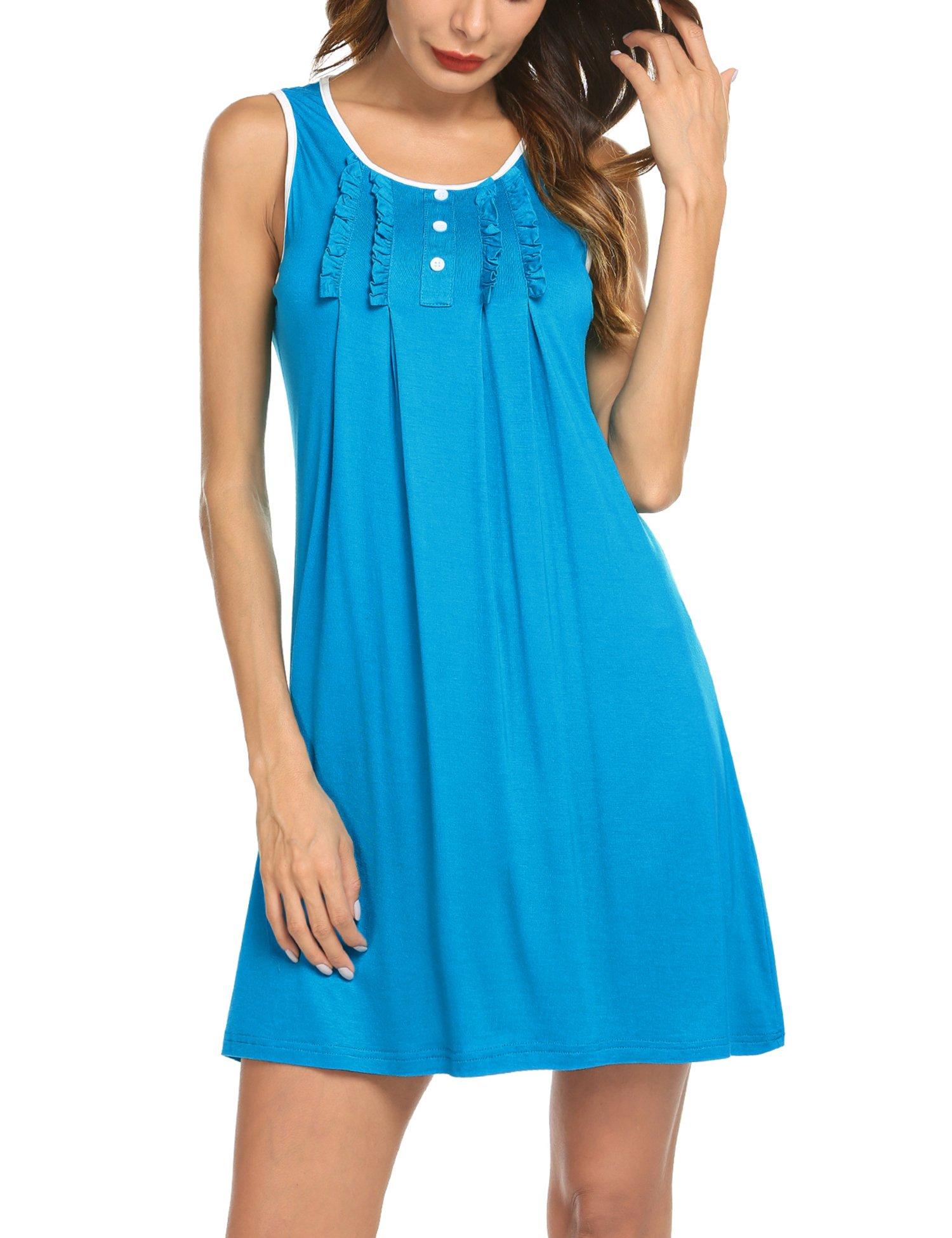 Hotouch Nightgowns for Women Short Sleeve Sleepwear Plus Size Nightshirt Blue XXL