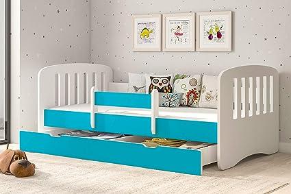 Blu, 140x70 Letto per bambino Cameretta per bambino con materasso Lettino bambini