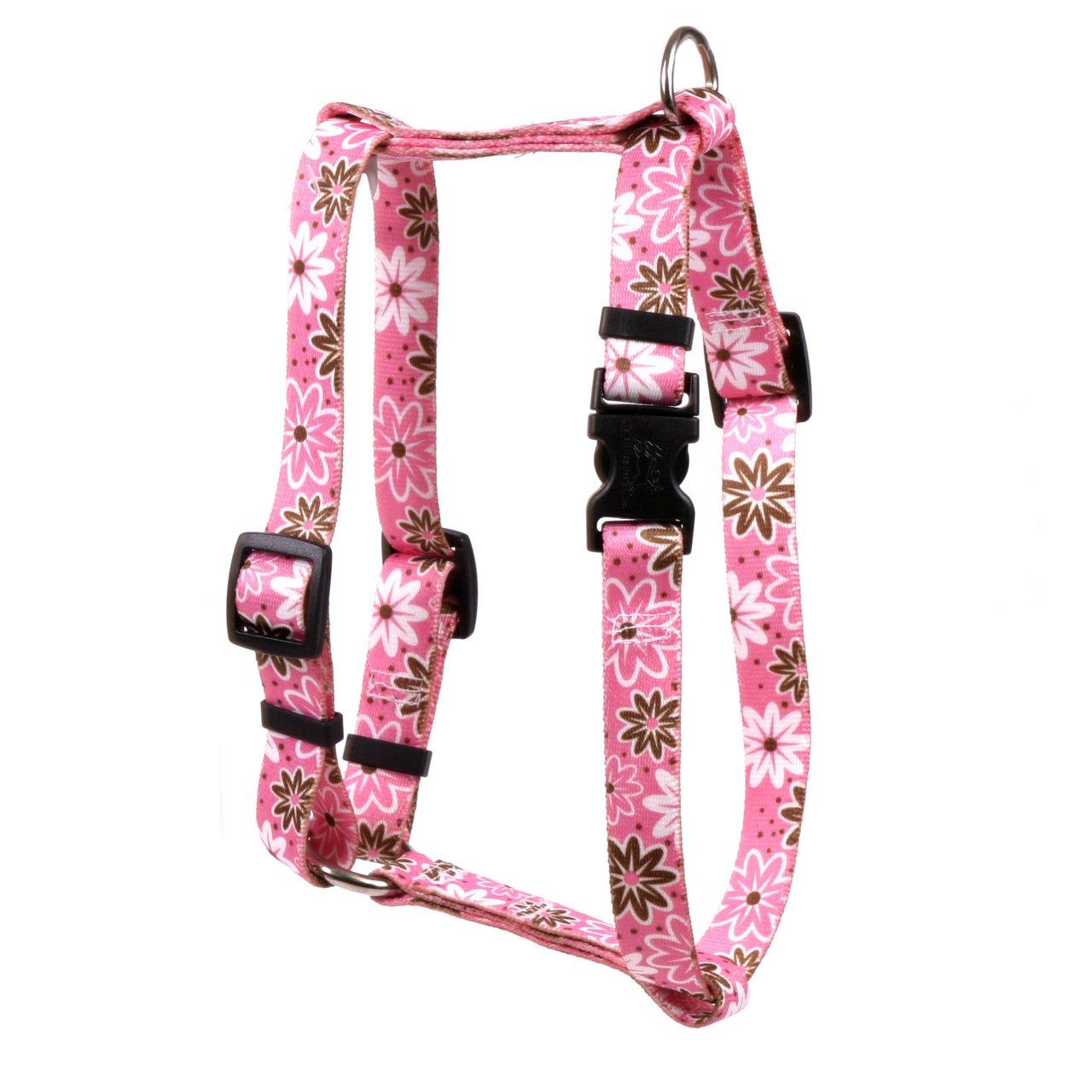 Large 20\ Yellow Dog Design Daisy Chain Pink Roman Style H  Dog Harness, Large
