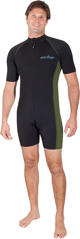 EcoStinger Men Sunsuit +Arm Pocket UV Protection Swimwear UPF50+ Chlorine Resistant Black Military Green