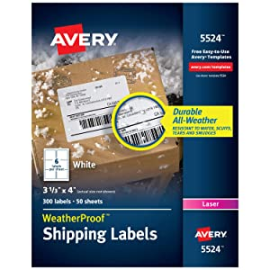 "Avery WeatherProof Mailing Labels with TrueBlock Technology for Laser Printers 3-1/3"" x 4"", Box of 300 (5524)"