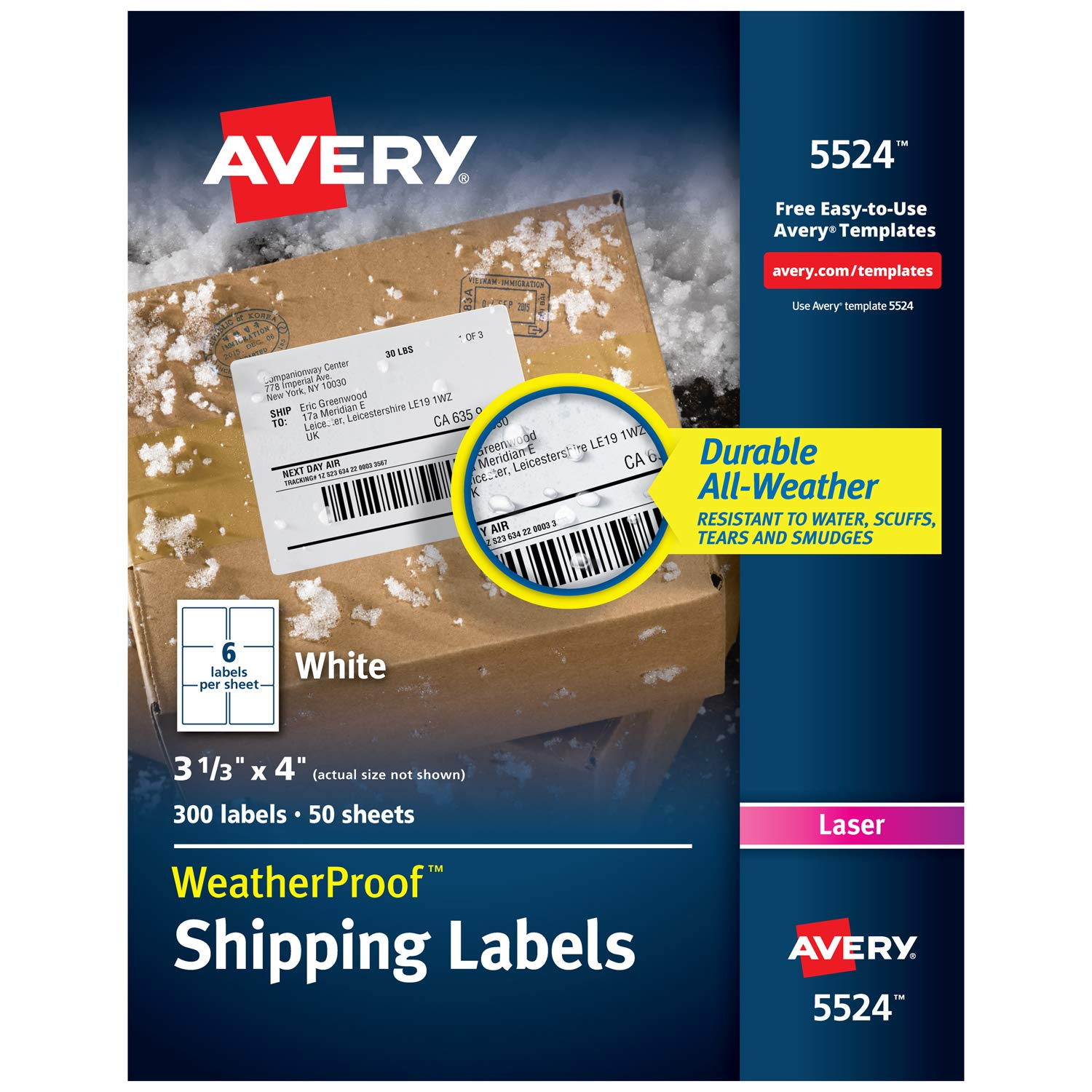 Avery WeatherProof Mailing Labels with TrueBlock Technology for Laser Printers 3-1/3'' x 4'', Box of 300 (5524)