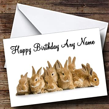 Lots Of Bunny Rabbits Personalised Birthday Card Amazon