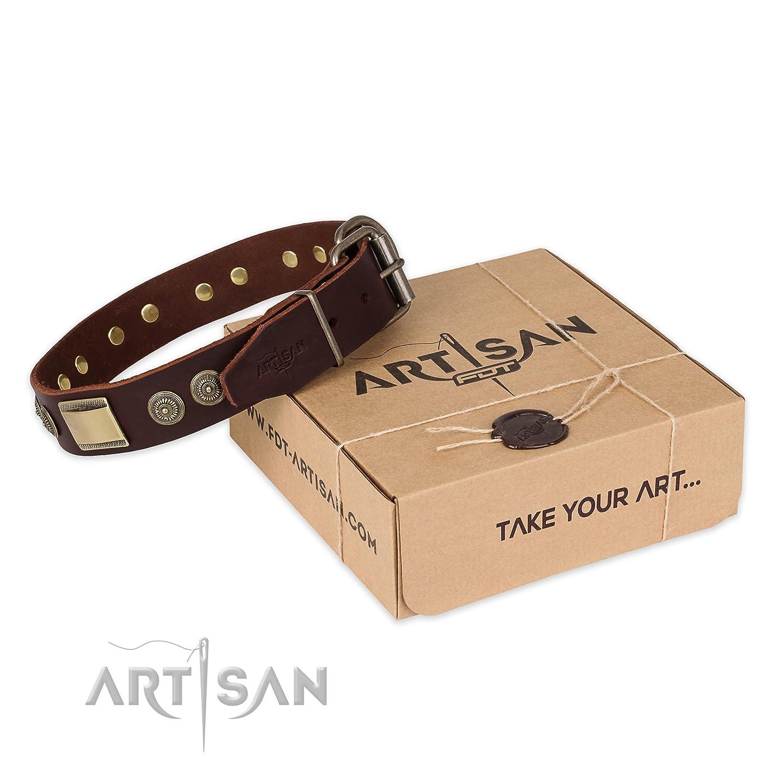 FDT Artisan Marroneee in pelle collare con ottone Decor – – – vintage Trimness – 1 1 2 inch (40 mm) di larghezza, fits for 23 inch (58cm) dog's neck Dimensione, Earthen 61324b