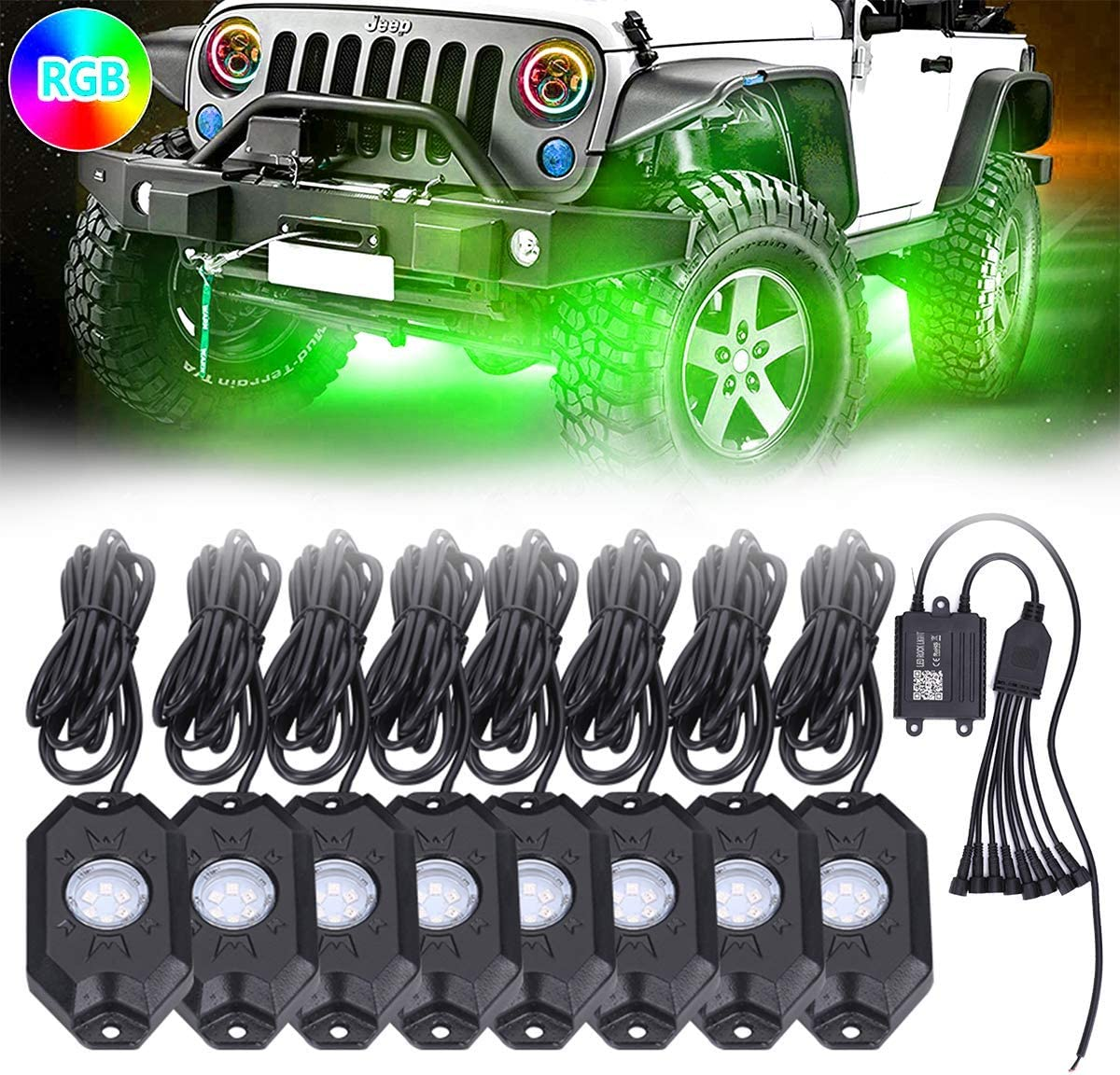 Music Wireless Bluetooth Controller 6pcs Led Chips Mode of DIY 4 Pods Flash and Timer for Exterior Cars Truck ATV SUV Jeep Boat Yacht Motorcycle AMONLY RGB Neon Led Rock Lights