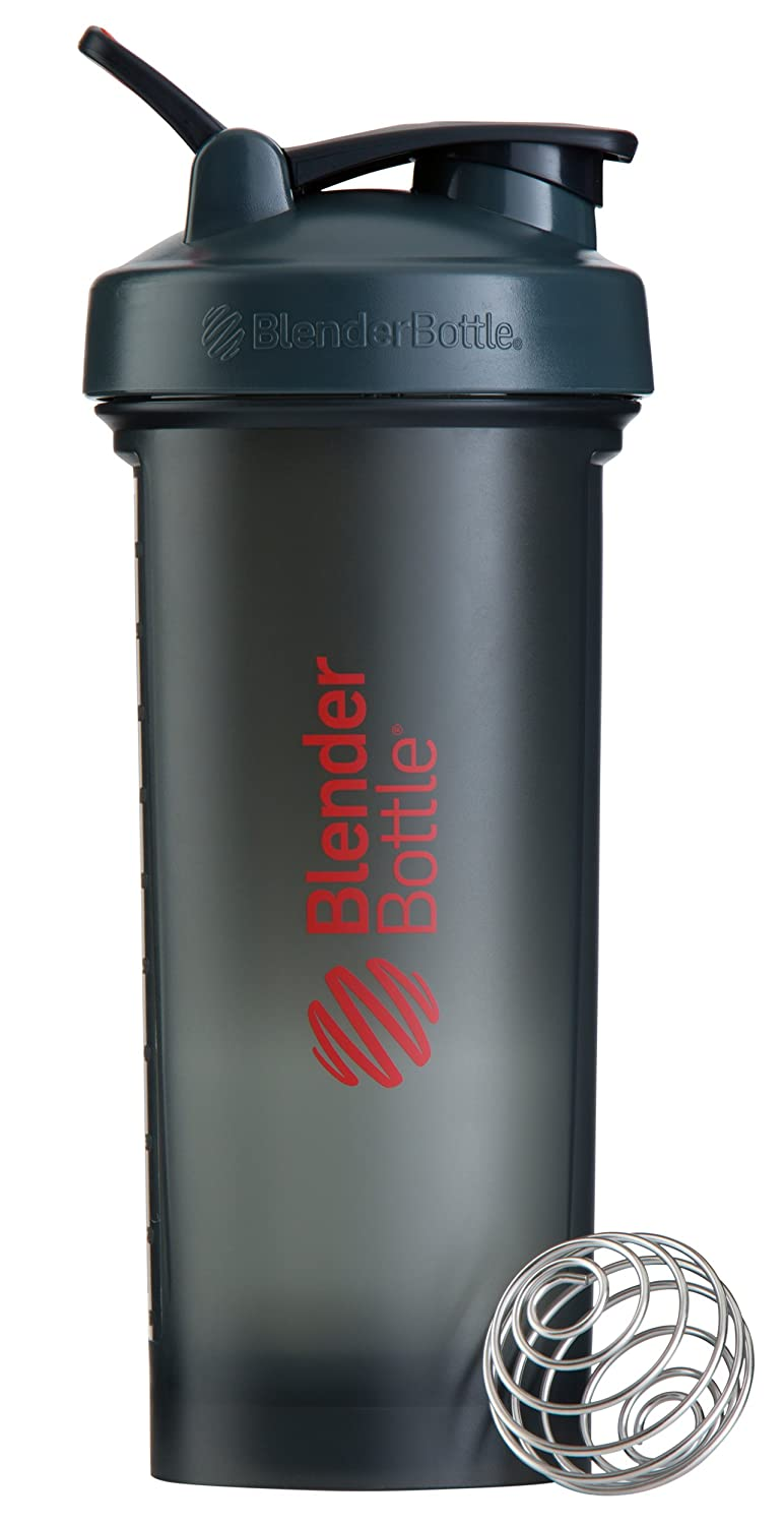 BlenderBottle Pro45 Extra Large Shaker Bottle, Grey/Red, 45-Ounce