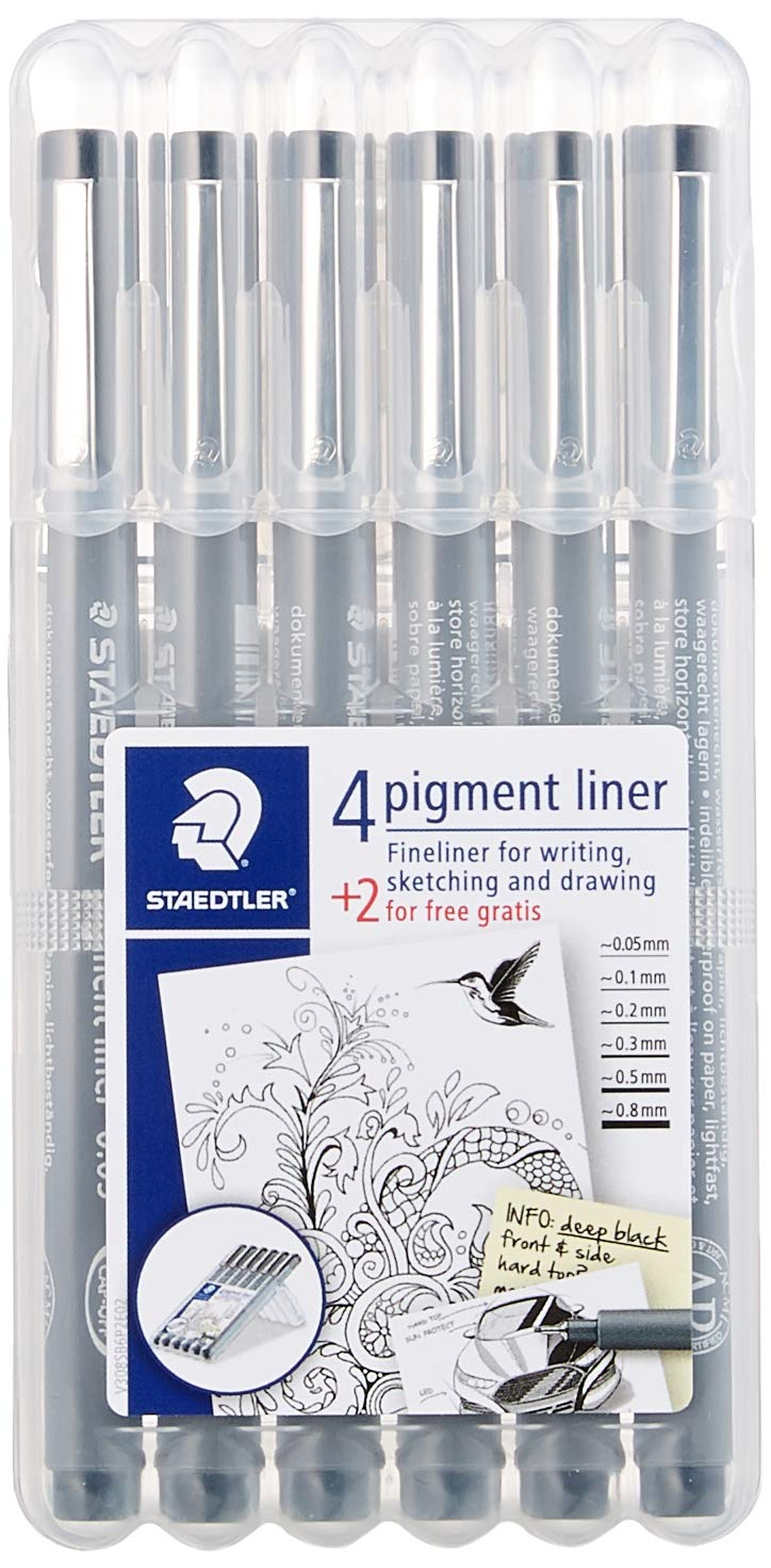 Staedtler 308 SB6P VE Pigment Liner 308 16 x 6 (4+2 Free) Black Pigment Ink Felt Tip Pens for Sketching/Drawing 0.5/0.1/0.2/0.3/0.5/0.8 mm by STAEDTLER (Image #2)