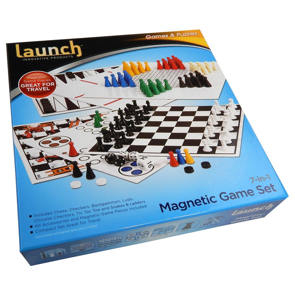 Launch Innovative Products Kathleen 7 Combo Classic Board Game with Magnetic Pieces - Tic-tac-toe, Checkers, Backgammon, Chess, Snakes and Ladders, Chinese Checkers, Ludo - Travel Set
