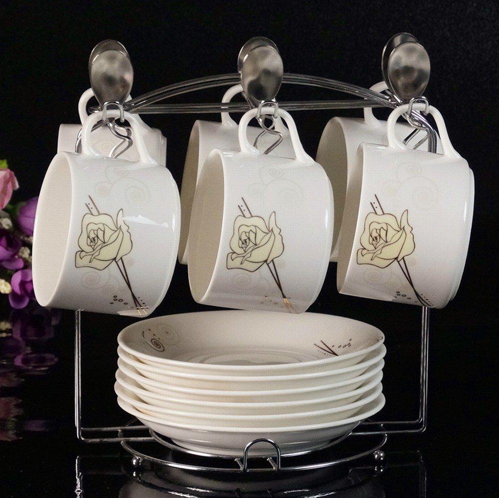 WI European Ceramic Coffee Cup Set Premium Phnom Penh Creative 6Pcs Bone China Coffee Cup Saucer Spoon Shelf,D