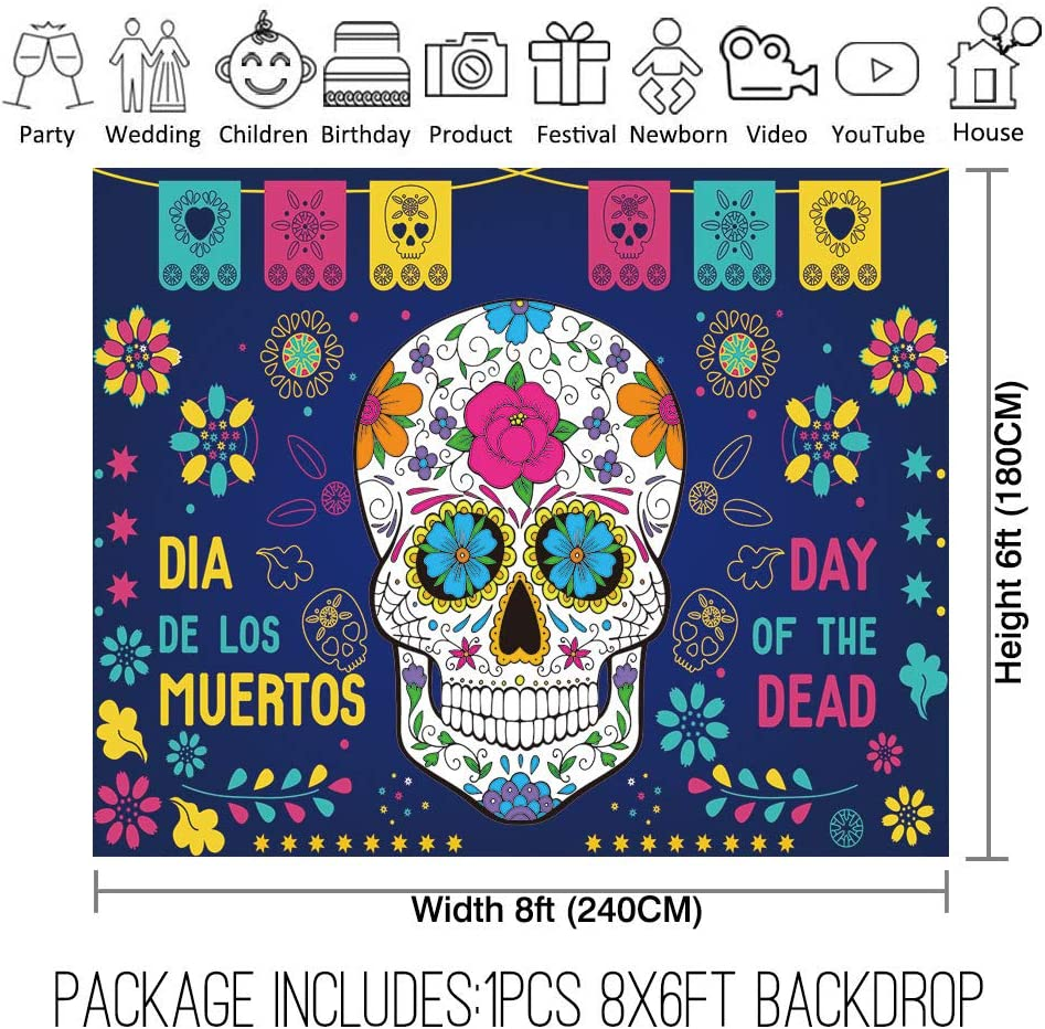 Allenjoy 10x8ft Day of The Dead Backdrop for Mexican Fiesta Party Supplies Decoration Photography Dia DE Los Muertos Floral Sugar Skull Background Baby Shower Birthday Party Studio Photoshoot Props